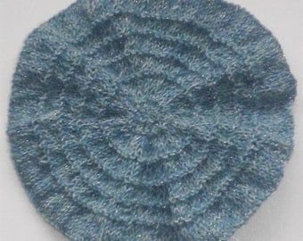 Blue Knitted Beret, Hand Knit Toddler Girl Hat, Children Hats, Tam, Wool, Beret with White Flower, Baby Girl's Beret, Hats For Kids, Gifts