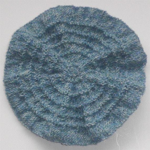 Items similar to Girls Blue Beret Hand Knit Toddler Girl Hat Children Ha...
