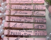 French Script ClothesPins with a touch of glitter glam oh so Paris Apartment oh so pretty in pink