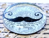 Mustache Glass Paperweight Vintage Dictionary Paper