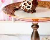 Cocoa Brown Cake Plate Dessert Pedestal Cake Stand Vintage Base and Birdie Accent