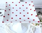 Cake Plate Dessert Pedestal CupCake Plate Red and White Polka Dot