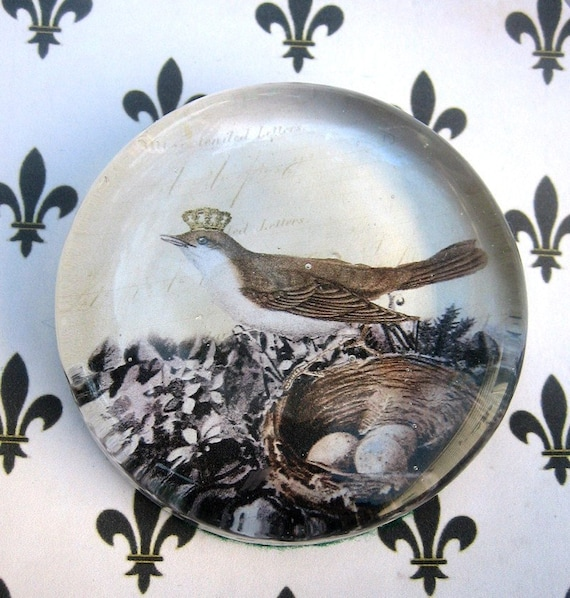 French Queen Bird in shades of Paris Glass Paperweight