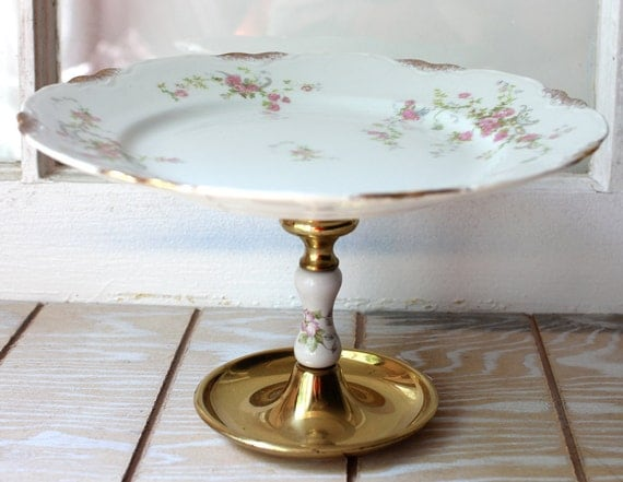 Cake plate dessert pedestal Small Cake Plate Cupcake Stand Elegant Gold Trimmed China and Base