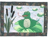 Quilted wall hanging,  a whimsical FROG in a POND, applique, beading and a little comedy.