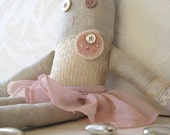 silver peony blush pink linen doll handmade by redstitch on Etsy