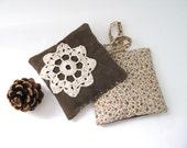 lavender pillow - rustic lavender sachets farmhouse brown doilly set of 2 - ostat