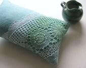decorative pillow cushion cover - aqua linen - lumbar pillow - hand dyed doilly - ostat