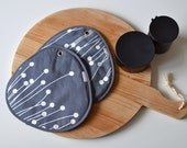 modern lines pair of large potholders in grey and white - pods motif - ostat