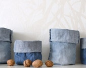 fabric basket storage box - mini containers - washed denim - shelf storage - little basket - set of 2x - ostat