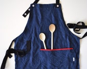 apron in dark blue herringbone italian linen - luxury gift - chili red accents - ostat