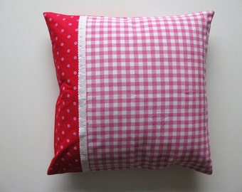 pink patchwork pillow cover 50x50 cm - girls room decor - pink cushion cover - nursery decor - home decor