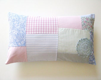 shabby patchwork pastel pink, grey and blue lumbar pillow cover - cushion cover - patchwork pillow - nursery decor - baby girl - shabby home