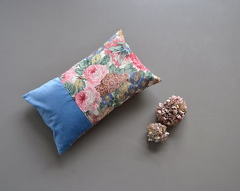 granny style blue and pink lumbar pillow cover - floral and velvet pillow - roses and peony lumbar floral cushion pillow cover - shabby home