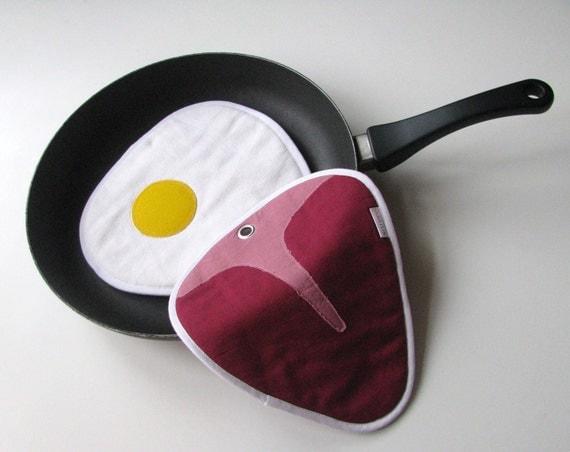 juicy steak and fried eggs potholders - fun potholders - kitchen potholders - foodie gift - meat