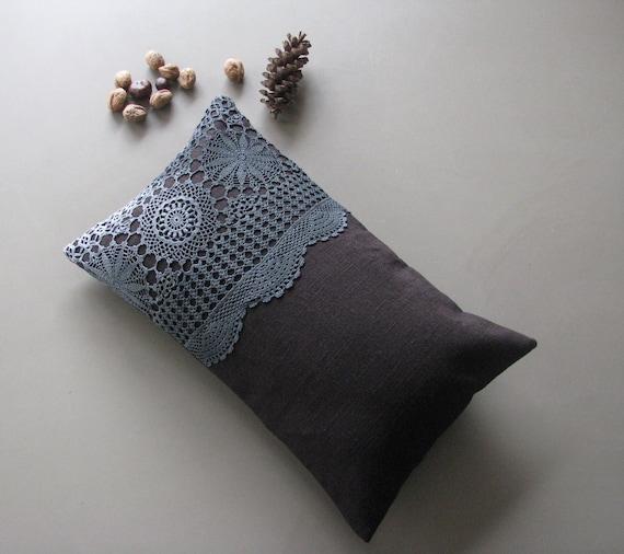 black linen cushion lumbar pillow - cushion cover - hand dyed doilly - lumbar pillow