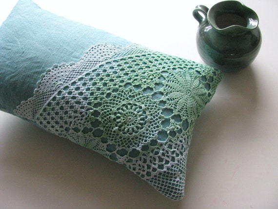 decorative pillow cushion cover - aqua linen - lumbar pillow - hand dyed doilly - ostat