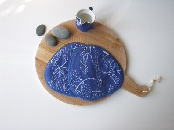 blue and white modern kitchen pair of potholders