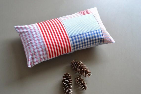 patchwork americana lumbar pillow cover - blue red and white lumbar pillow - cushion cover - patchwork 12x20 - lumbar pillow - americana