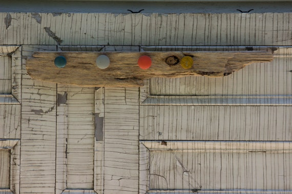 Driftwood CoatRack with Colored Knobs