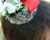 Reserved for Jessica: Eunice// Vintage-Style Mini-Hat Pillbox Hat Cocktail Hat Headband Red White Black
