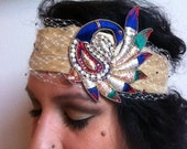Reserved for Jesssica: Usha// Imported India Silk and Adornments Handmade Fabric Headband Birdcage Veil Luxe Chic OOAK