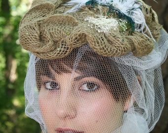Anastasia// Boho Medieval Bride Burlap Baby's Breath Romantic Vintage Style Victorian Style Mucha Inspired Whimsical Veil