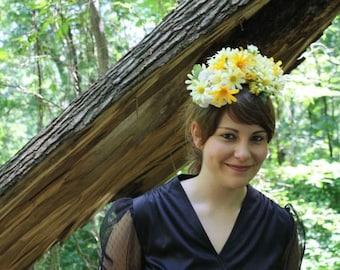 Aphra// Fascinator Yellow Daisies Vintage Style Bohemian Half Hat Handmade OOAK