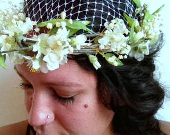 Oditi// Feminine and Delicate Halo Fascinator, Bridal, Woodland Fairy, Boho, Chic, OOAK