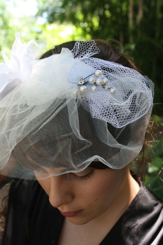 Reserved for Jessica: Esme// Old, New and Blue Old Hollywood Style Bridal Fascinator, Vintage Fabric, Rhinestones, Tulle