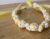 knotted statement necklace / beaded teething nursing necklace -- yellow blossom