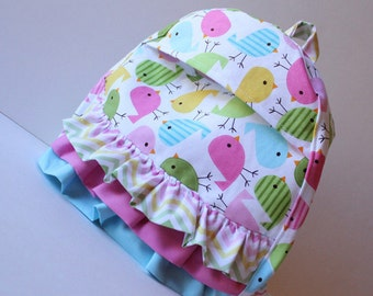 toddler backpack -- spring chicks with ruffles