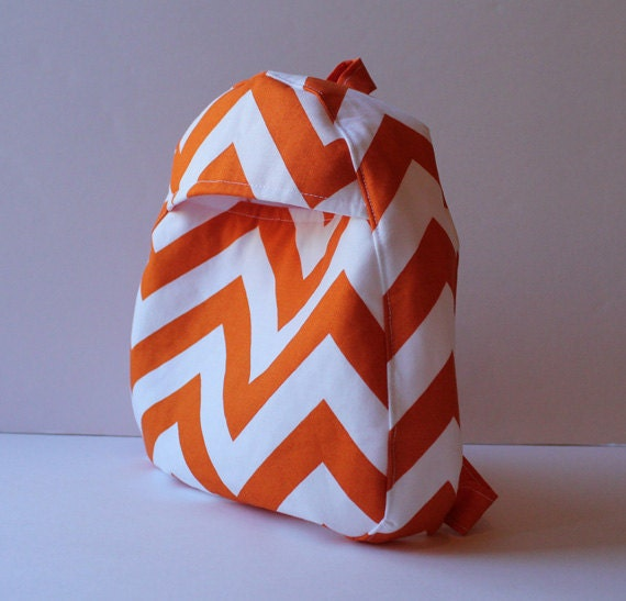 toddler backpack -- chunky chevron in tangerine