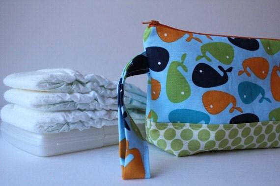 diaper clutch / diaper and wipes case -- a whale of a tale