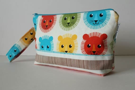 SALE diaper clutch / diaper and wipes case -- bermuda lions