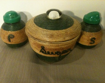 Vintage Sugar Bowl with Salt and Pepper Shakers