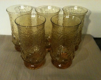 Anchor Hocking Amber Daisy Glasses, Set of 5