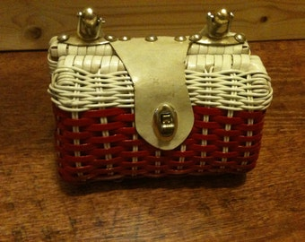 Vintage Leather and Vinyl Weave Purse