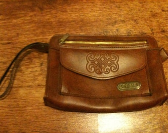 Vintage Brown Leather Type Clutch Purse