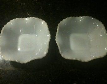 Vintage Pair of White Milk Glass Hobnail Bowls