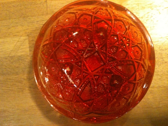 Vintage Red Yellow Footed Carnival Glass Bowl