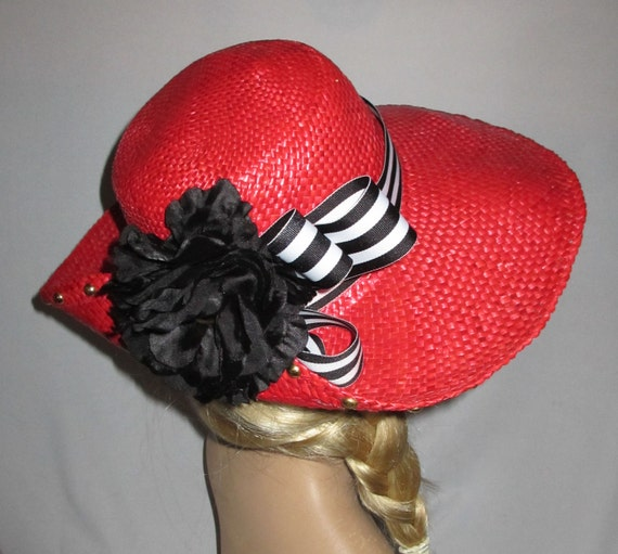 SALE - RED ROVER - Lipstick Red Vintage Straw Sun Hat - For Boating, Beach, Everyday, Handcrafted In Italy By Miriam Lefcort
