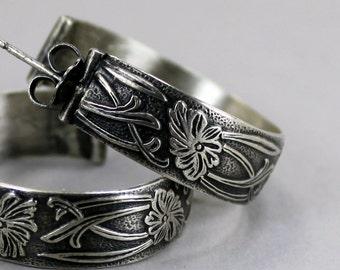 Sterling Silver Floral Hoops