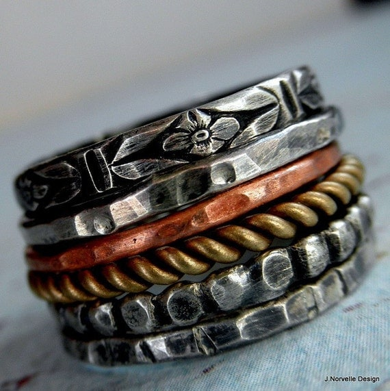 Stack Rings Set of 6 Sterling Copper and Brass Custom Size