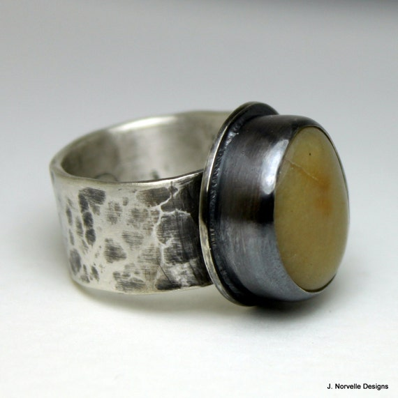 Sterling Silver Stone Ring - Agate Ring - Sterling Silver Ring - Handmade Jewelry - Beach Stone