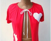 T Shirt Tee Cardigan For Her / Candy Apple Red / White Hearts / Women / M - L / Short Sleeved / OOAK / Gift For Mom / ohzie