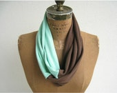 Infinity T Shirt Scarf / Eternity Scarf / Chocolate Brown Mint Green / Fall / Lightweight / Fashion / Soft / Fun / by ohzie