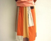 Upcycled T Shirt Skirt / Autumn Fall Earth Tone Colors / Cotton Tees / Tangerine Orange Mustard Yellow Latte Brown / Soft / Fun / by ohzie