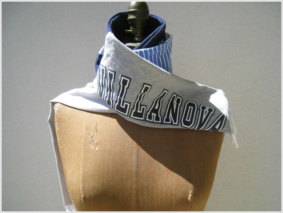 Villanova University T Shirt Scarf / Navy Blue Gray White / Unisex / Fall / Winter / Gift for Him Her / Cotton / Warm / Recycled / by ohzie