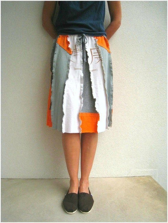 Raggedy T Shirt Skirt / Recycled Cotton Tees / Orange Green Cream / Knee Length / Drawstring / Spring / Summer / Gift for Her Mom / ohzie